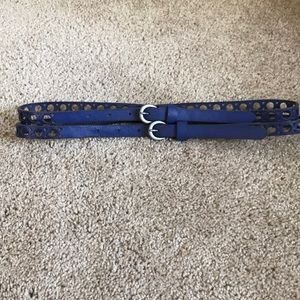 Anthropologie blue leather double belt